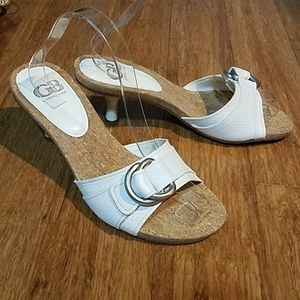 Gianni Bini Super Star white patent leather sandal
